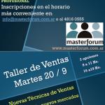 Taller de Ventas – Invitación Martes 20 Septiembre